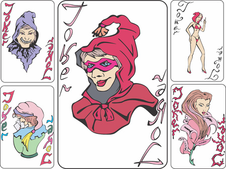 hoax: Set of playing cards with jokers as witches. Vector illustrations. Illustration