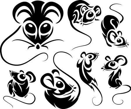 gnawer: Set of cartoon black mice. Vector illustrations. Illustration