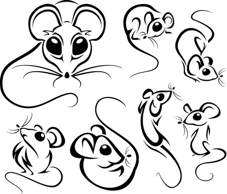 gnawer: Set of outline funny mice. Vector illustrations.