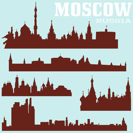 skylines: Set of Moscow skylines, Russia. illustrations. Illustration