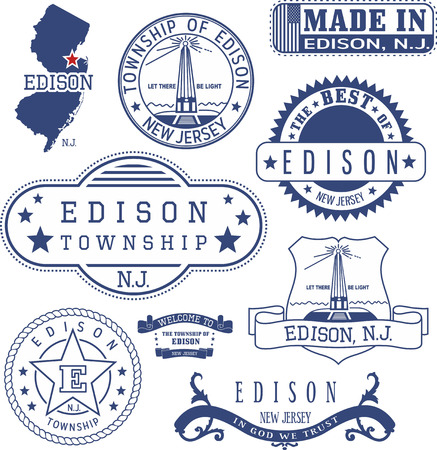edison: Edison township, New Jersey. Set of generic stamps and signs.