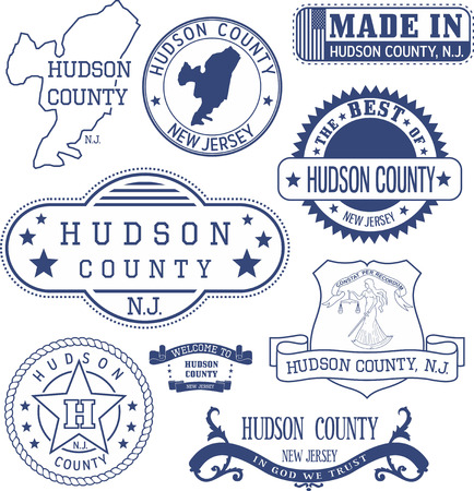 jersey city: Hudson county, New Jersey. Set of generic stamps and signs.