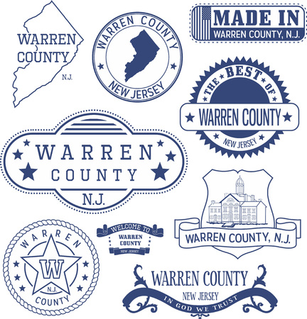 Warren county, New Jersey. Set of generic stamps and signs. 矢量图像