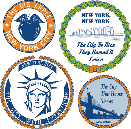informal: Generic stamps and signs with nickname of New York City