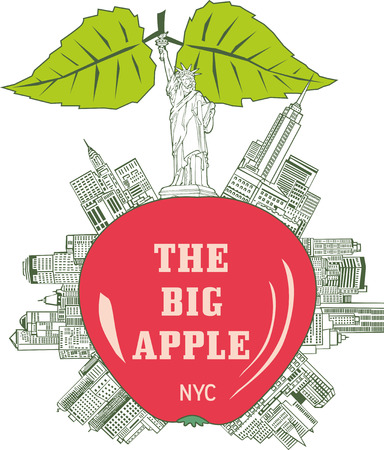 emblematic: The Big Apple, New York City. The generic emblem of New York as apple with skyscrapers. Illustration
