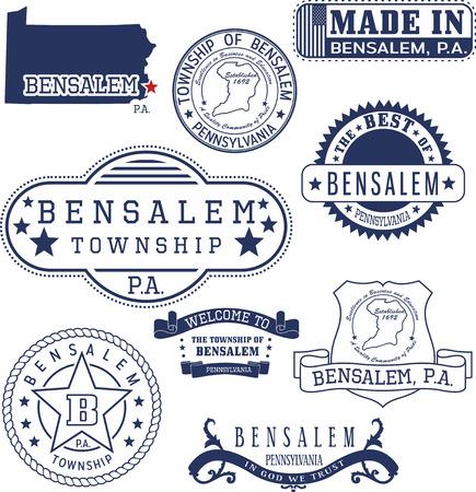 informal: Bensalem township, Pennsylvania. Set of generic stamps and signs. Illustration