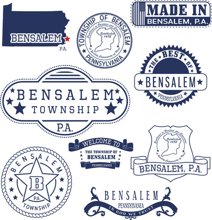 Bensalem township, Pennsylvania. Set of generic stamps and signs. Illustration