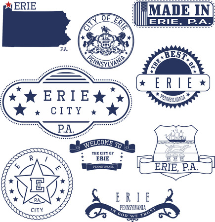 unofficial: Erie city, Pennsylvania. Set of generic stamps and signs.