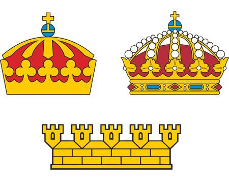 Satz von heraldischen schwedischen Kronen. Abbildungen. Standard-Bild - 62761431