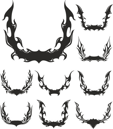 flaming: Set of flaming wreaths. Vector illustrations. Illustration
