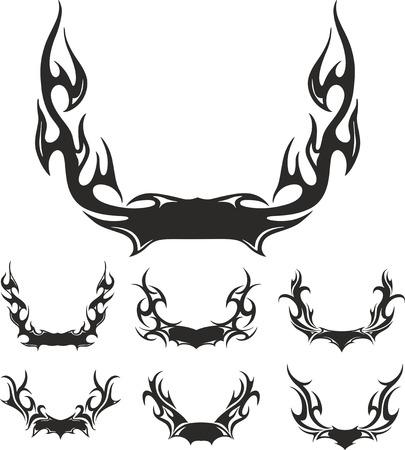 flaming: Set of flaming wreaths. Vector illustrations. Illustration