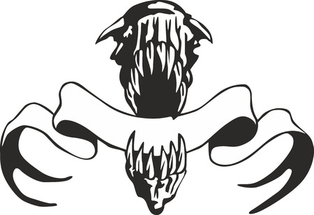 jaws: Giant jaws with a streamer. Vector template for an emblem.