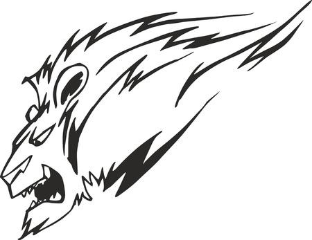 felidae: Powerful lion head in motion, vector tattoo stencil
