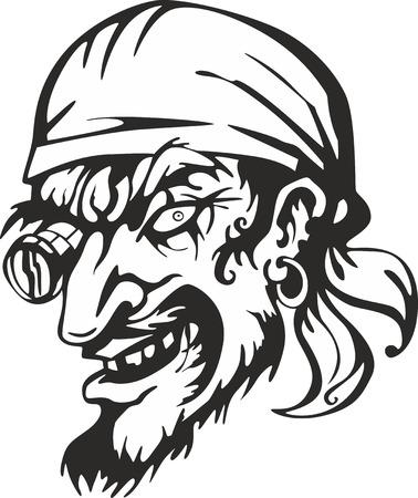 Filibuster captain head. Vector illustration. Illustration