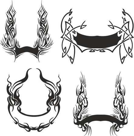 Set of four decorative wreath templates. Vector collection.