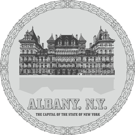 Generic sign of Albany, NY, with the building of the New York State Capitol.