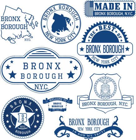 Lot de timbres génériques et des signes de Bronx arrondissement, New York City