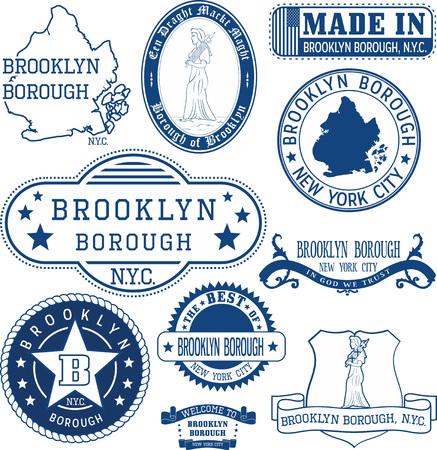 Ensemble de timbres génériques et des signes de l'arrondissement de Brooklyn, New York