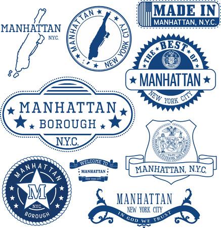 Lot de timbres génériques et des signes de Manhattan arrondissement, New York City
