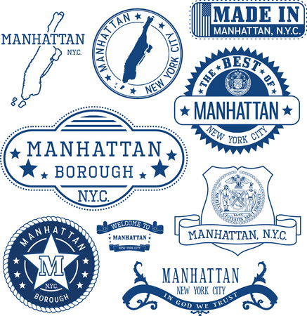 Set of generic stamps and signs of Manhattan borough, New York City