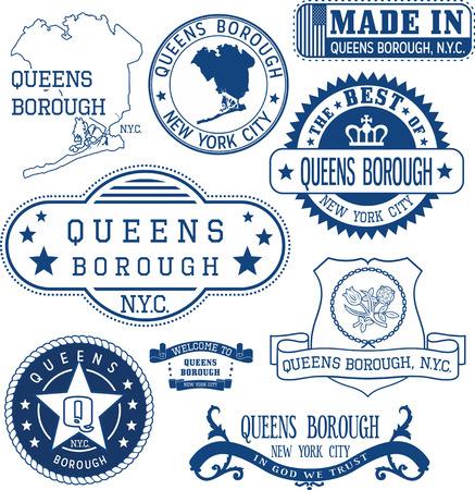 Ensemble de timbres génériques et signes de l'arrondissement de Queens, New York City
