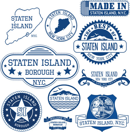 emblematic: Set of generic stamps and signs of Staten Island borough, New York City Illustration