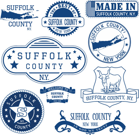 Set of generic stamps and signs of Suffolk county, New York state