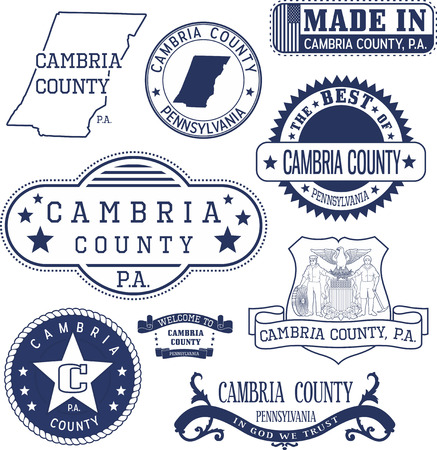 generic: Set of generic stamps and signs of Cambria county, Pennsylvania Illustration