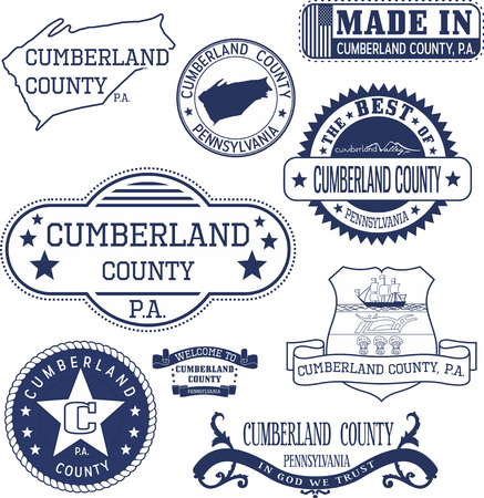 generic: Set of generic stamps and signs of Cumberland county, Pennsylvania