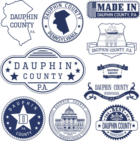 generic: Set of generic stamps and signs of Dauphin county, Pennsylvania Illustration