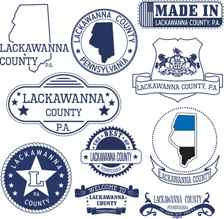 generic: Set of generic stamps and signs of Lackawanna county, Pennsylvania