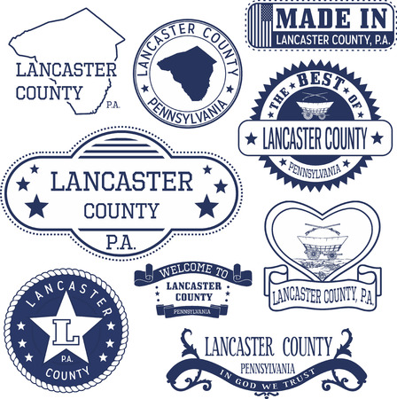 generic: Set of generic stamps and signs of Lancaster county, Pennsylvania Illustration