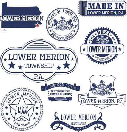 emblematic: Set of generic stamps and signs of Lower Merion township, Pennsylvania Illustration