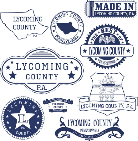 generic: Set of generic stamps and signs of Lycoming county, Pennsylvania