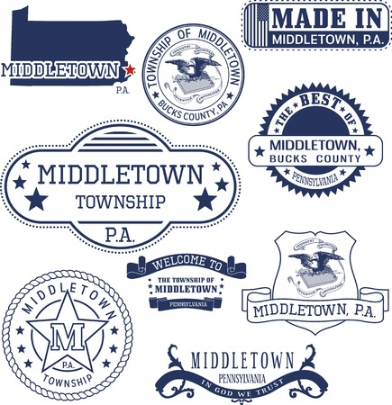 Set of generic stamps and signs of Middletown, Bucks county, Pennsylvania