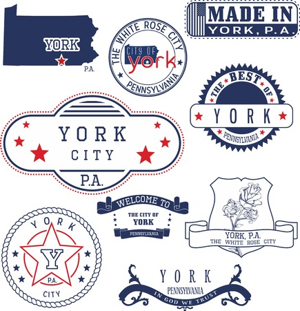 emblematic: Set of generic stamps and signs of York city, Pennsylvania Illustration