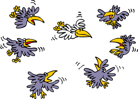 humorous: Funny humorous sketch depicting how many black crows make fun of only white crow in sky. Vector cartoon illustration.