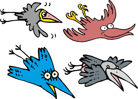 daw: Set of little flying comic funny birds - crows and ravens. Zoo theme in cartoon style.
