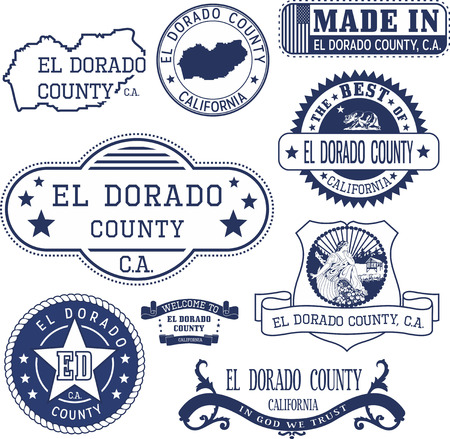 unofficial: El Dorado county, California. Set of generic stamps and signs. Illustration