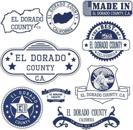 dorado: El Dorado county, California. Set of generic stamps and signs. Illustration