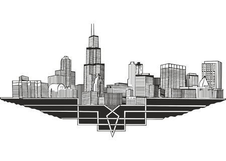Cityscape and skyline of Chicago, Illinois. Architectural landscape of the city of Chicago. Illustration