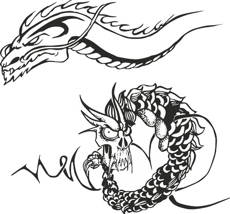 Set of two black and white sketches with powerful oriental japanese dragons for tribal tattoo stencils Illustration