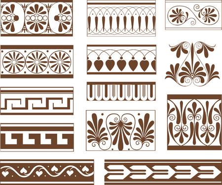 Set di elementi ornamentali modello in stile etrusco - vignette orizzontali floreali e geometrici e gessati