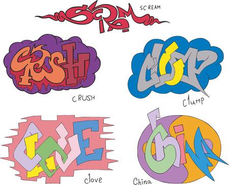clove: Set of five graffiti sketches - scream, crush, clump, clove and china