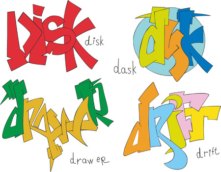 drift: Set of four graffiti sketches - disk, dask, drawer and drift