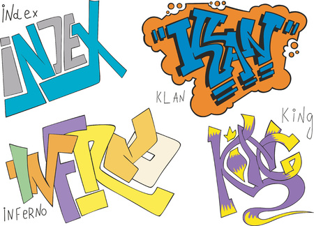 graffito: Set of four graffiti sketches - index, klan, inferno and king