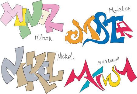 maximum: Set of four graffiti sketches - minor, monster, nickel and maximum