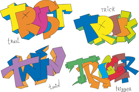 Set of four graffiti sketches - trust, trick, twin and trigger