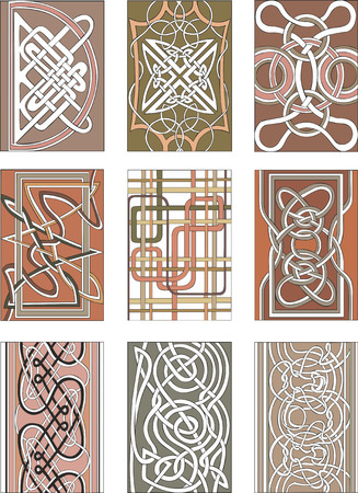 romanesque: Set of nine vertical knot decorative patterns in miscellaneous artistic styles for illustrative purposes