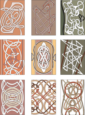 miscellaneous: Set of nine vertical knot decorative patterns in miscellaneous artistic styles for illustrative purposes